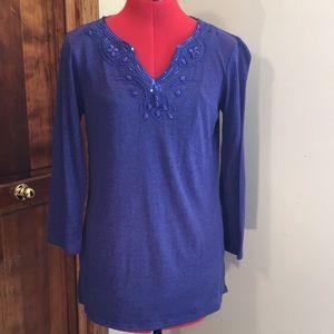 Dana Buchman women's blue long sleeve shirt.